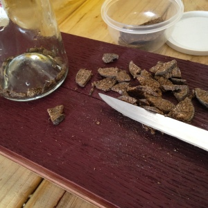 raw ambergris being sliced up for making tincture Moby Dick Ambergris Ale Robe Town Brewery