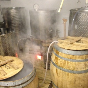 the brewhouse extraction and wood fire boiling Moby Dick Ambergris Ale Robe Town Brewery
